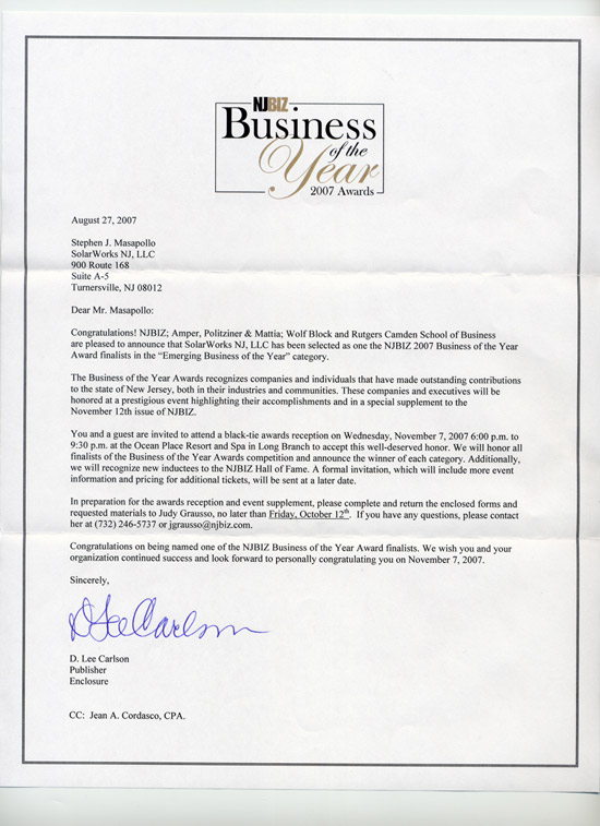Business of the Year Award 2007